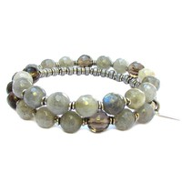 Positivity and Serendipity, Genuine Labradorite and Smoky Quartz 27 Bead Wrap Mala Bracelet