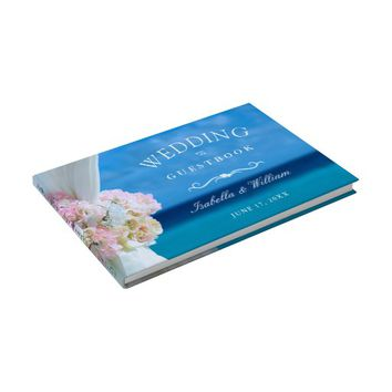 Elegant Floral Ocean Beach Summer Wedding Guest Book