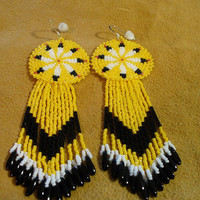 Native American Style rosette beaded Eight Feather earrings