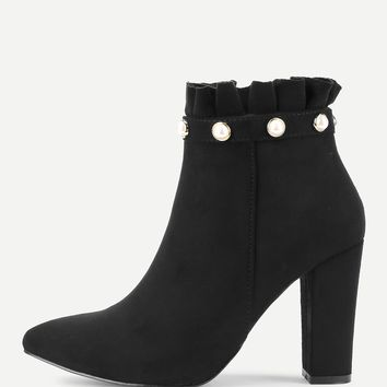 Faux Pearl Ruffle Trim Block Heeled Boots