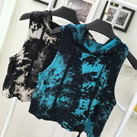 Tie Dye Hooded Crop Tee T Shirt Vest