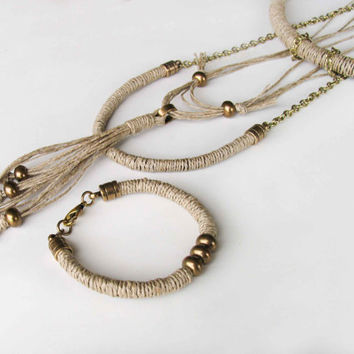 Long Tassel Necklace, Boho Necklace, Tribal Necklace Lariat, Brass Beads on Natural Hemp cord, 2015 Trend Greek Bohemian Jewelry Set