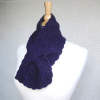 Purple Neck Scarf, Pull Through Ascot, Knitted, Alpaca Wool, Cowl Neck Warmer, Great Gift
