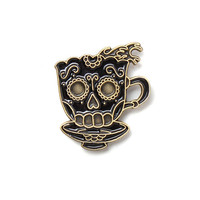 Coffee Skull Tattoo Pin