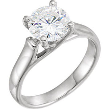 14K White 5mm Round Forever Classic™ Moissanite Solitaire Engagement Ring