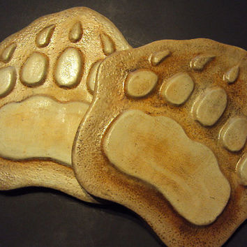 Bear Paw Stepping Stones,  PAIR, Almost 12 Pounds Each, Very Special