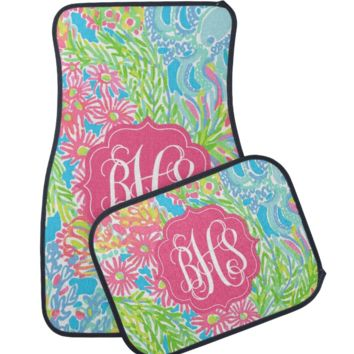 Lovers Coral Lilly Inspired Monogram Car Mats