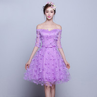Sweetheart Half Sleeve Flowers Tulle Purple Cocktail Dresses 2016 Party Prom Dress