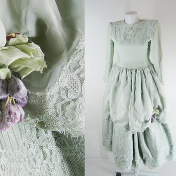 silk velvet  dress Vintage 60's Beautiful sparkling stones antique style lace Bright pastel green light  wedding dress size XS FREE Shipping