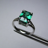 CLEARANCE Emerald Green CZ Octagon in Sterling Silver Ring