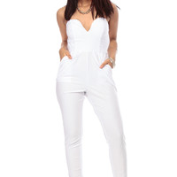White Plunging Strapless Jumpsuit