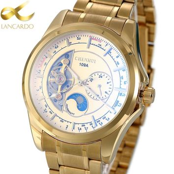 Man Mechanical Watch Luxury Brand Lancardo Men's Business Stainless Steel Watches Skeleton Automatic Mechanical Gold Watches