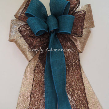 Teal Brown Wedding Pew Bow Teal Brown Gold Christmas Wreath Bow Teal Gold Brown Christmas Tree Bow Teal Brown Swag Bow Teal Brown Gift Bow