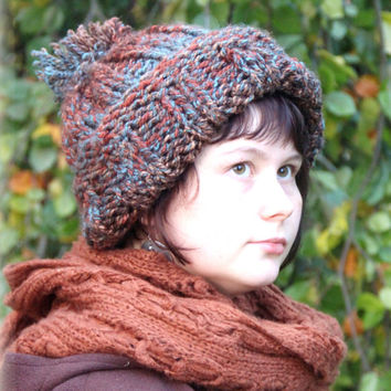Comfortable cozy big hat with pompom - mixed colors - red, blue, brown - warm for winter