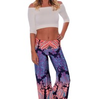 Chicloth-Navy-and-Orange-Printed-Palazzo-Pants