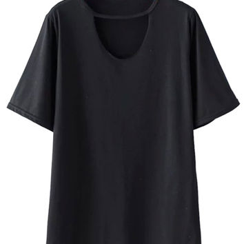 Black Cut Out Short Sleeve T-shirt