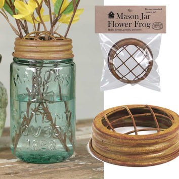 Mason Jar Flower Frog Lid - Antique Mustard Finish - Set Of 6 - *FREE SHIPPING*