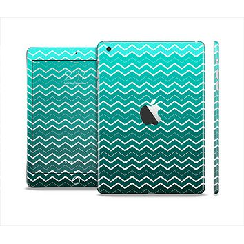 The Teal Gradient Layered Chevron Skin Set for the Apple iPad Mini 4