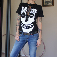 Olivia Paige -Diy Gothic steampunk eyelet tape  shirt  Skull skeleton The Misfits top with lace up