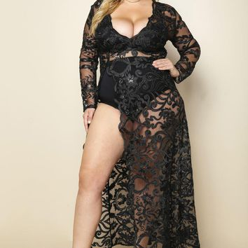 Rich Girl Sheer Lace Overlay  Plus Size Maxi Dress