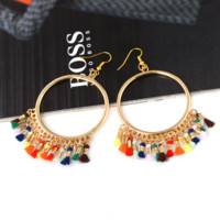 Sell new fashionable tassel hoop earrings