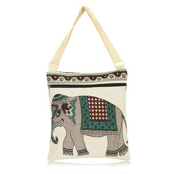 Women Cute Elephant Retro Shoulder Bag Cartoon Embroidered Tote