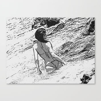 Sexy at the Beach, perfect shapes bikini girl bathing in bay, hot black and white Canvas Print by hmdesignspl