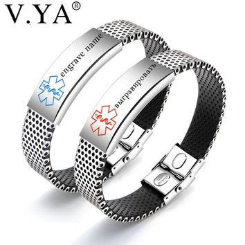 V.Ya Punk Stainless Steel Medical Sign Men's Bracelets Fashion DIY Custom Engrave Chain Jewelry Silicone Bracelets For Man Gifts