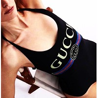 GUCCI Popular Women Sexy Print Vest Type Bikini Bodysuit Black