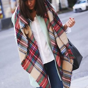 LMFU3C Women Blanket Oversized Tartan Plaid Scarf Wrap Shawl Poncho Jacket Coat Stole