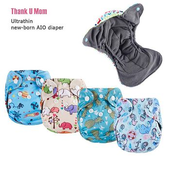 Thank U Mom Bamboo Charcoal Double Gussets Fit 3- 5KG Babies Belly Button Newborn Baby Diapers Tiny Ultrathin AIO Cloth Diaper