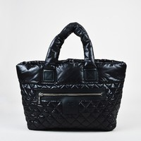 "Chanel Black & Red Nylon Quilted Padded Large ""Coco Cocoon"" Tote"