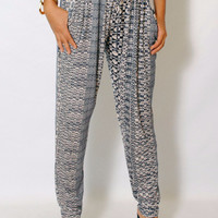(amd) Geometric abstract print bohemian harem pants