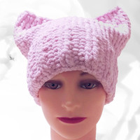 PussyHat, Pink PussyHat, Pink Hat, Cat Ear Hat, Pussy Hat Project, Pussy Cat Hat, Winter Hat, Warm Hat, Chunky Hat, Women's March