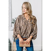 Sly Moves Snake Print Long Sleeve Top
