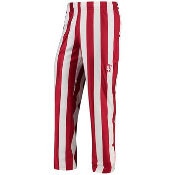Indiana Hoosiers adidas On-Court Candy Stripe Basketball Warm-Up Pants - Crimson/White
