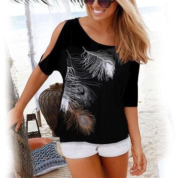 New Casual Short Sleeve Sexy Off Shoulder Feather Print O-neck Loose  TShirt