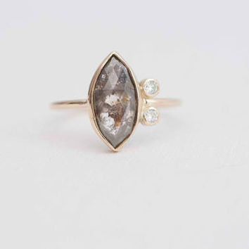 Grey Rose Cut Marquise Diamond + Diamond Accents Engagement Ring | Rustic Diamond Ring | 14k Recycled Gold | One of a Kind