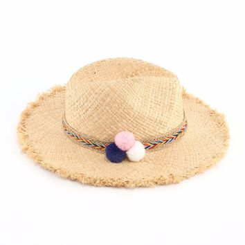 Women Fashion Colorful Ball Raffia Straw Hats Summer Panama Beach Hat Capeline Chapeaux Femme