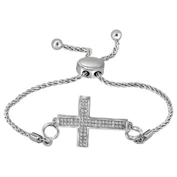 Sterling Silver Womens Round Diamond Cross Religious Bolo Bracelet 1/20 Cttw
