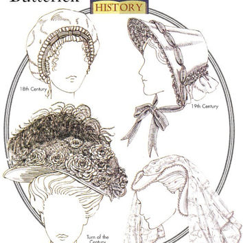 Costume Hat Pattern 18th 19th Century Victorian Edwardian Elizabethan Renaissance Hats Butterick B4210 Sewing Patterns Uncut Size S M L
