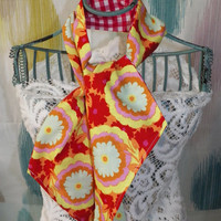 Red Flame Flower or Sweet Lilac Paisley Ascot Scarf or Tie Up Head Wrap Reversible Choose Your Print