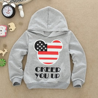 2015 Children T-shirt Sweatshirts clothes boys girls long-sleeved sweater hoodie Minnie Printed Kids Yellow Green Orange
