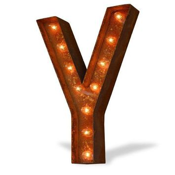 """24"""" Letter Y Lighted Vintage Marquee Letters (Modern Font/Rustic)"""