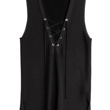Roberto Cavalli - Stretch Top with Lace-Up Front