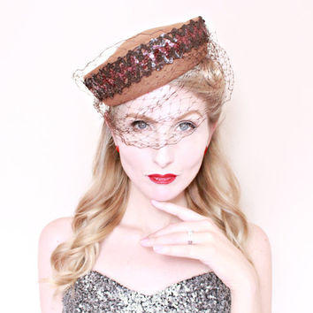 1940s Hat / VINTAGE / 40s Hat / Tilt Hat / Brown / Sequins / Veil / Bow / PRETTY