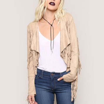 Midnight Special Fringe Jacket - Sand - Outerwear - Clothes at Gypsy Warrior