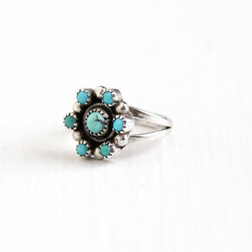 Vintage Sterling Silver Turquoise Cabochon Cluster Ring - Size 5 1/4 Retro 1970s Southwestern Native American Style Teal Green Gem Jewelry