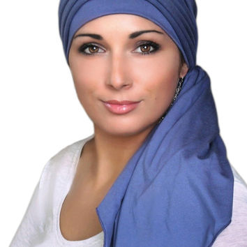 Smoky Denim Blue Jersey Turban, Head Wrap, Alopecia Scarf, Chemo Hat and Scarf Set