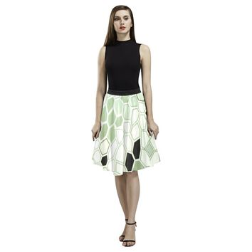 Hex Camo Design 1 Women's Pleated Midi Skirt